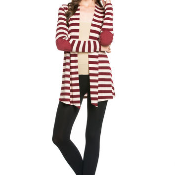 Burgundy Striped Hacci Cardigan With Suede Elbow Patch