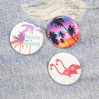 Palm Trees Sunset 1.25 Inch Pin Back Button Badge