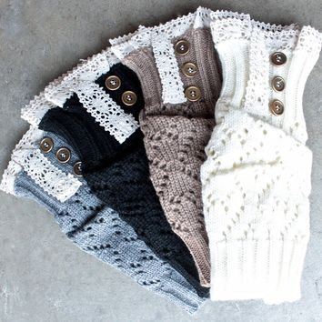 knit lace 3 button boot cuffs - more colors