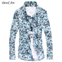 Free Shipping Men's Floral Dress Shirts Fashion Casual Slim Fit Long Sleeved Shirt 3 Colors Size M-5XL C05