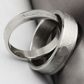 Geminis Jewelry Fashion Silver Heartbeat 316 L Stainless Steel Couple Promise Ring Good Gift(Free Hand Lettering Inside,Send E-Mail to Tell Me!With Free Gift Box)