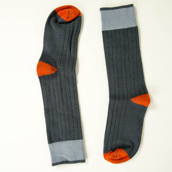 Solid Steel-Grey with Teal & Orange Tipping Socks