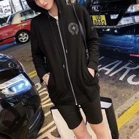 """Chrome Hearts"" Women Sports Casual Leather Embroidery Long Sleeve Hooded Windbreaker Jacket Coat Sportswear"
