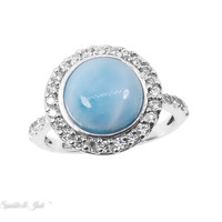 Sterling Silver Round Larimar and CZ Halo Ring