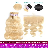 Blonde 613 Bundles With Frontal Closure Brazilian Body Wave Bundles with Closure Remy Human Hair