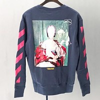 Off White Autumn And Winter Fashion New Letter Painting Print Long Sleeve Sweater Top Gray&Blue