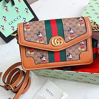 GUCCI x Disney Fashion Women Shopping Bag Leather Stripe Shoulder Bag Crossbody Satchel