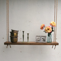 Rustic Hanging Wood Accent Shelf made with lumber from an 1860/70's Gold Mine Camp in the Eastern Sierra Nevada Mountains