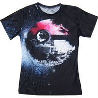 Pokeball Death Star T-Shirt Sexy Tee Pokemon/Star Wars vibrant t shirt summer style casual tops pullover women men plus size