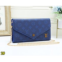 LV Louis Vuitton Fashion Women Retro Leather Metal Chain Shoulder Bag Crossbody Satchel 2#