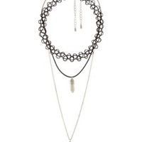 Marble, Moon & Tattoo Choker Necklaces - 3 Pack