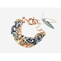 14K Rose Gold Chain and Charms Bracelet