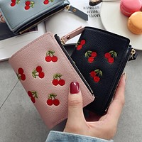 Fashion Women Girls Short Wallet Small PU Leather Cherry Embroidery Coin Purse Card Holders Lady Girl Mini Money Bag