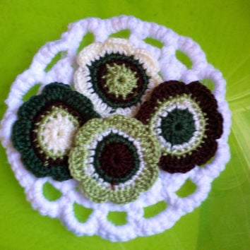 Set of 4 Hand Crochet Flower Appliques Embellishments Coasters Pine Green, Cream, Green, and Chocolate Brown