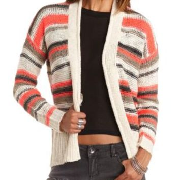 Striped Open Cardigan Sweater by Charlotte Russe - Ivory Combo