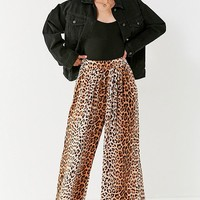 UO Shea Leopard Print Wide-Leg Pant | Urban Outfitters