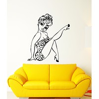 Vinyl Wall Decal Retro Sexy Girl Pin Up Style Beautiful Cartoon Woman Stickers (3242ig)