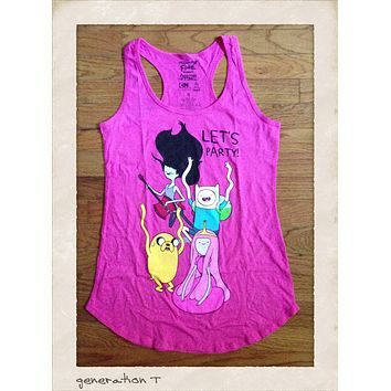 Womens Vintage Inspired Adventure Time Let's Party Tank Top