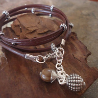 PANYAS & SPACER  Wrap Bracelet in Brown and Silver by AsaiBolivien