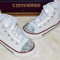 Custom Crystal White Hi High Top All Star Converse Blinged Crystal Toes, Ribbon Laces Infants Toddlers Kids Childrens Junior