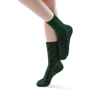 Polka Party Glitter Ankle Sock | Green