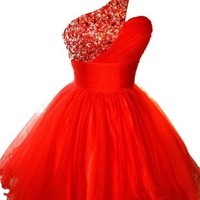 Sunvary 2016 One Shoulder Tulle Pageant Dress Cocktail Homecoming Gown Mini