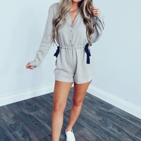 Come For You Romper: Putty/Navy