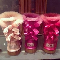 UGG Fashion Winter Women Cute Bowknot Flat Warm Snow Ankle Boots-4