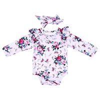 born Baby Rompers Girl Baby Long Sleeve Pink Print Flower Romper + Headband With Two Pieces Costume Clothes for Girls