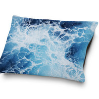 Blue Ocean Surf 3 - Pet Bed, Ocean Nautical Style Pet Pillow Bed, Dog & Cat Pet Bedding Pillow Accessory Bed Accent. In Small Medium Large