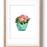 Spring bloom watercolor painting, Married Primula plant watercolor, bloom in mint planter, floral art, shabby chic art, original  watercolor