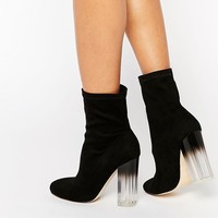 Truffle Collection Theda Sock Clear Heeled Ankle Boots at asos.com