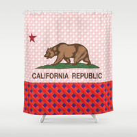 California Plaid Republic Flag Picture Shower Curtain by NorCal