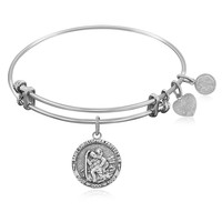 Expandable Bangle in White Tone Brass with St. Christopher Protection Symbol
