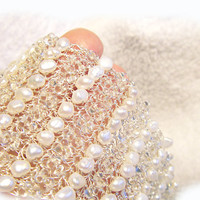 Pearl  Sparkly Seed beads Bracelet  - Crochet Wire Beaded Cuff -  Delicate Bridal Pearl Bracelet -Bridal Jewelry