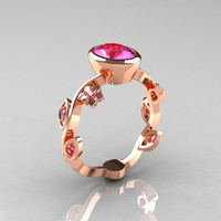 Classic 10K Rose Gold 1.0 Carat Oval Pink Sapphire Flower Leaf Engagement Ring R159O-10KRGPS
