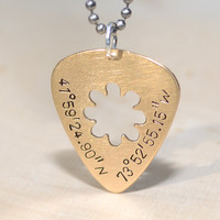 Custom cut out guitar pick pendants and necklaces in 14 K gold