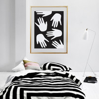 Contemporary Art, Hands Print, Abstract Hand Print, Wall Decor, Black and white, Home Decor, Modern Decor, Modern Print, Large Wall Art.