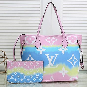 LV Louis Vuitton Hot Sale Rainbow Color Two-Piece Set Fashion Ladies Handbags Shopping Bags Shoulder Bags Coin Purses