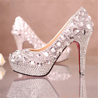 Luxury crystal wedding shoes high heel platform rhinestone shoes bridal shoes performance shoes white shoes