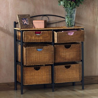 Six-Drawer Storage Unit With Six Wicker Baskets Black Steel Frame Home Furniture