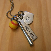 Hand Stamped Necklace Personalized Necklace Softball Mom or Girls Softball Necklace with Softball Charm Number Name