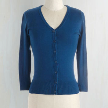 Nautical Mid-length 3 Charter School Cardigan in Royal Blue