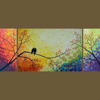"""72"""" Original Modern Texture Impasto Painting Landscape Love Birds Tree Wall Decor """"Over the Rainbow"""" by QIQIGALLERY"""