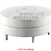 Modern White Leather - Button Tufted - Ottoman