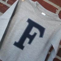 """Initial shirt """"F"""" for toddler or baby boy, navy initial on gray long sleeve shirt, size 18 months, ready to ship."""