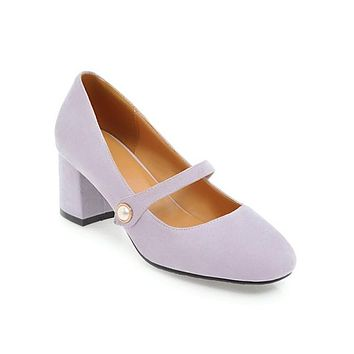 Ladies Round Head Mary Janes Woman's Chunky Heels Pumps