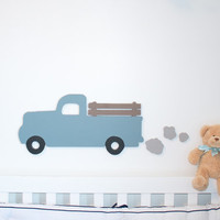 Vintage style blue truck with exhaust plumes little blue truck vintage room decor truck baby nursery wooden truck wall decor