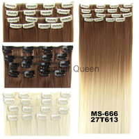1Set Clip On Hair Extension 60cm 24inch 7pcs/set Natural Hairpieces Dip Dye Straight Synthetic Clip In ombre Hair Extensions