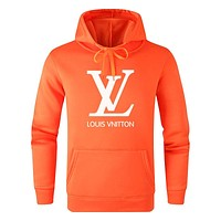 LV Louis Vuitton Autumn And Winter Fashion New Letter Print Women Men Hooded Long Sleeve Sweater Top Orange
